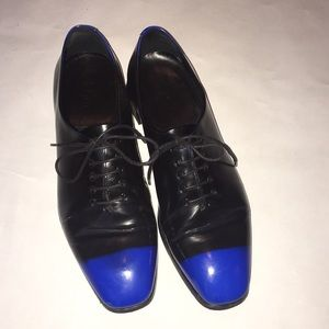 Rare Dior Blue-tipped black lace up flats, 36
